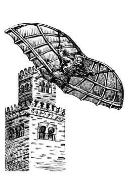 Representación del vuelo de Ibn Firnas en 875
