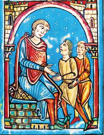 El conde Wifredo II de Cerdaña, en su trono, recibe el tributo de Isarn y Dalmau de Castellfollit por el castillo de Sant Esteve de Castellfollit. Liber feudorum Ceritaniae, fol. 1