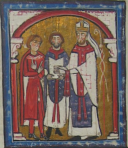 El obispo San Armengol de Urgel jura fidelidad al conde Wifredo II. Liber feudorum Ceritaniae, fol. 9v