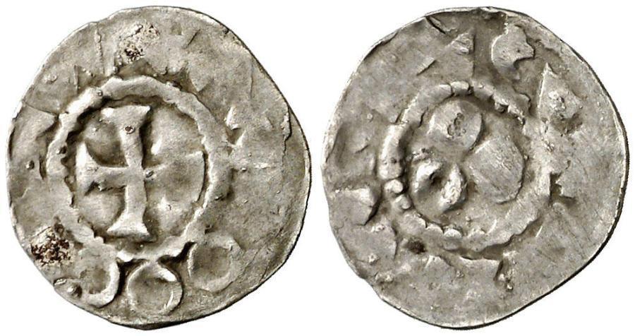 Dinero de plata de Borrell II. Comtat de Barcelona. Borrell II (947-991). Barcelona. Diner. (Cru.V.S. falta) (Cru.C.G. 1814).