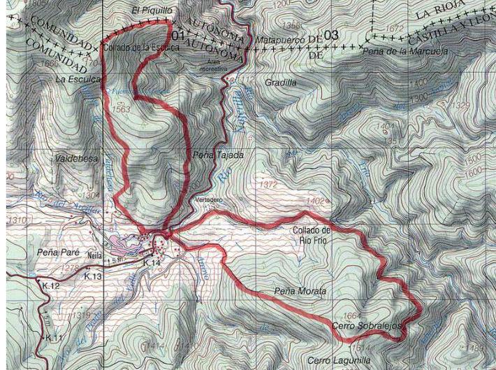 Mapa sendero PR-Bu-10