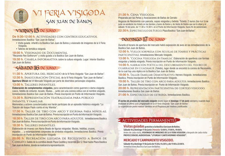 Programa VI Feria Visigoda San Juan de Baños 2018