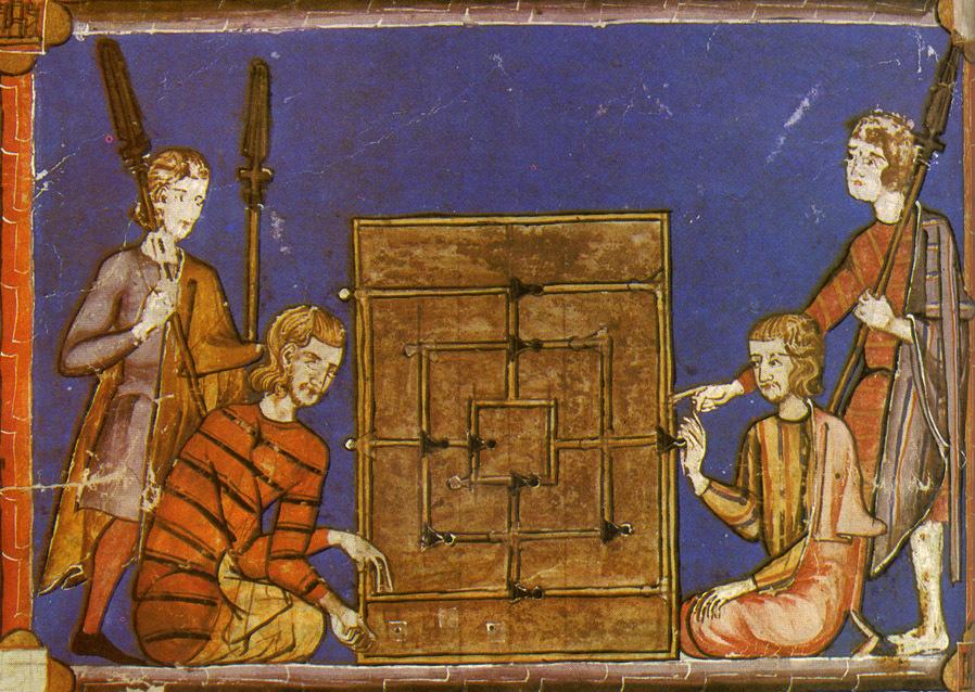 Juego del Molino o Alquerque de nueve en el Libro del axedrez... de Alfonso X