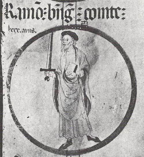 Miniatura de Ramón Berenguer I según la Genealogía de la Casa de Aragón del Monasterio de Poblet (c. 1400)