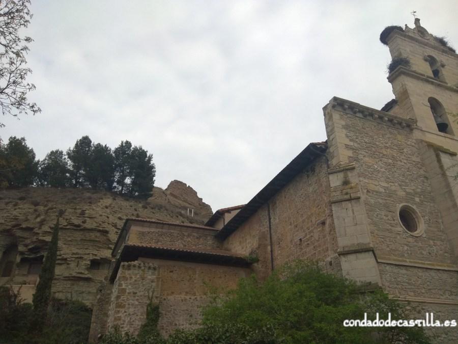 Belorado. Iglesia de Santa María, el castillo al fondo. A la izquierda las Cuevas de San Caprasio, San Vicente y Santa Pía
