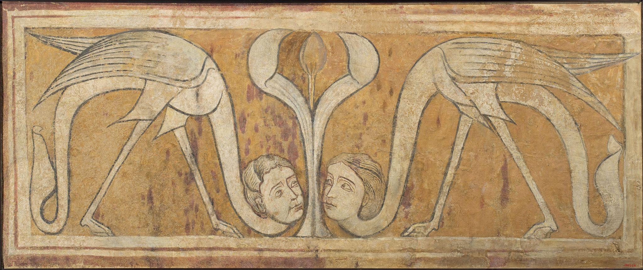 Sirenas pájaro de San Pedro de Arlanza. Galería de arte románico del MNAC de Barcelona