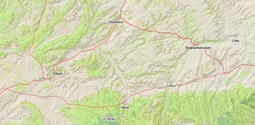 Ramal de calzada romana que pasaba por Auca. Mapa tomado de https://dh.gu.se/dare/