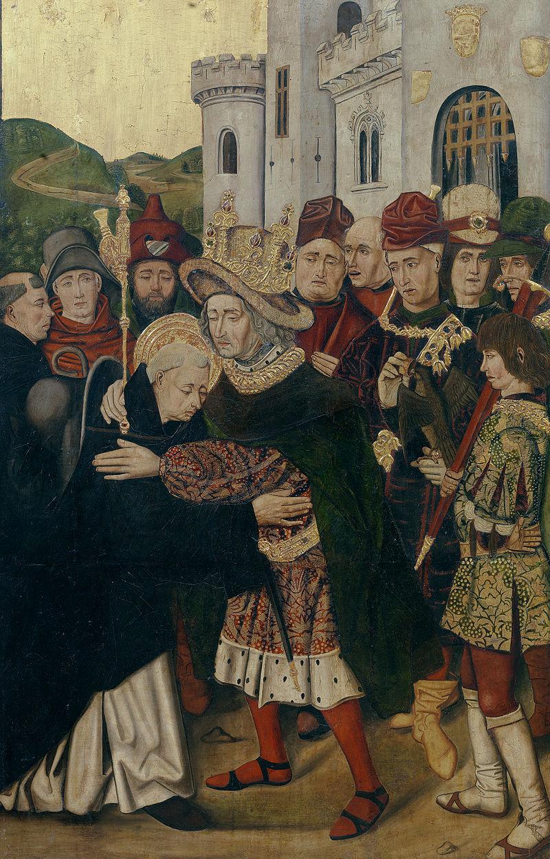 Fernando I acogiendo a Santo Domingo de Silos, de Bartolomé Bermejo y Martín Bernat (Museo del Prado, Madrid)