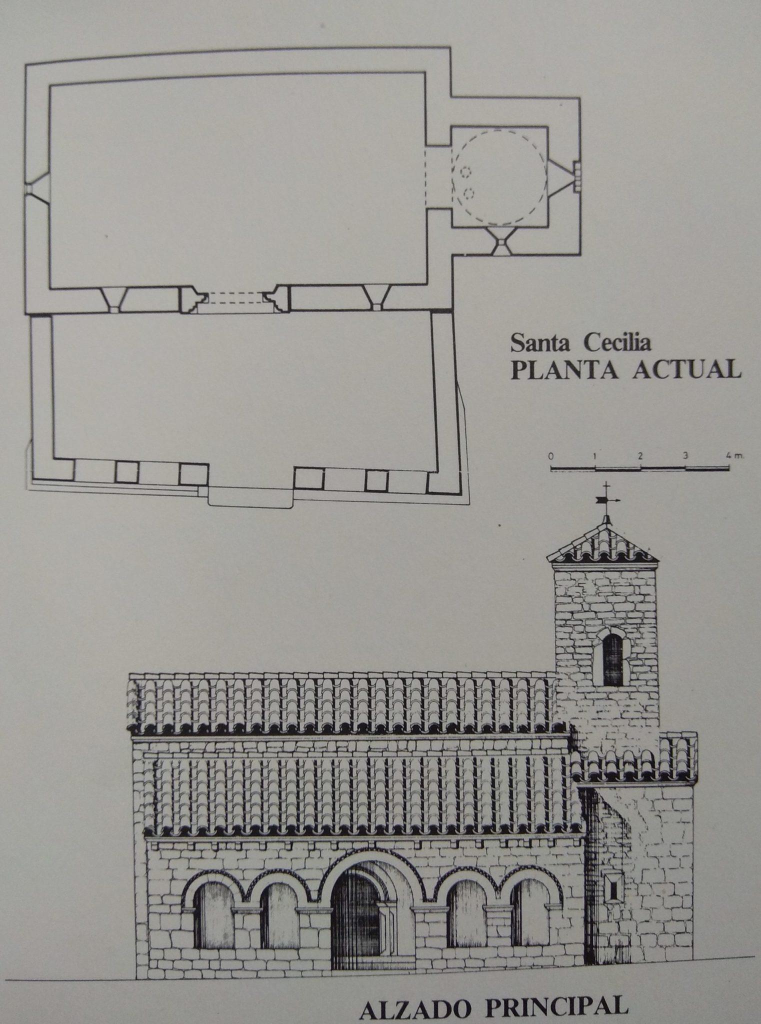 Planta y alzado de Santa Cecilia