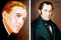 Pfarrer Joseph Mohr, der Dichter des Liedtextes von «Stille Nacht, heilige Nacht» und Schulmeister und Organist Franz Xaver Gruber, der Komponist