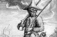 Daniel Defoe und sein Roman über Robinson Crusoe - Lithografie in der Originalausgabe von 1719