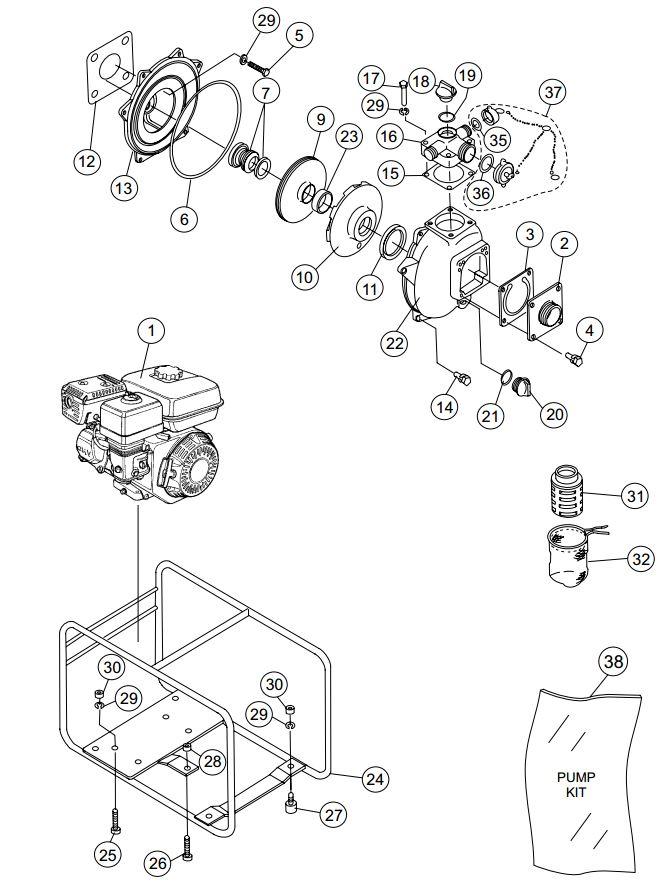 Wiring Diagram  35 Honda Gx120 Water Pump Parts Diagram