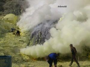 Penambang belerang di kaldera. Nyawa menjadi taruhannya