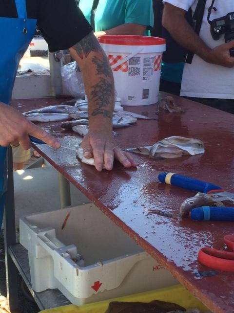Memperlihatkan cara memfillet ikan. Penting ini buat saya karena saya takut menyiangi ikan :D