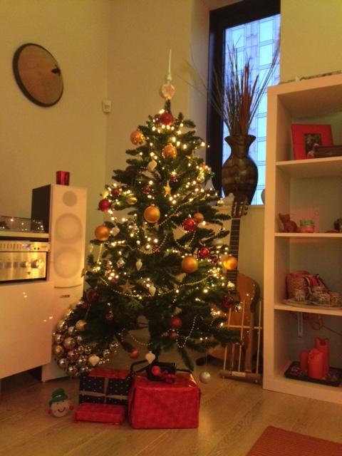 Pohon dan hadiah-hadiah dibawahnya. Rasanya saya ingin menjejerkan pot kemangi disana, kado untuk suami :D