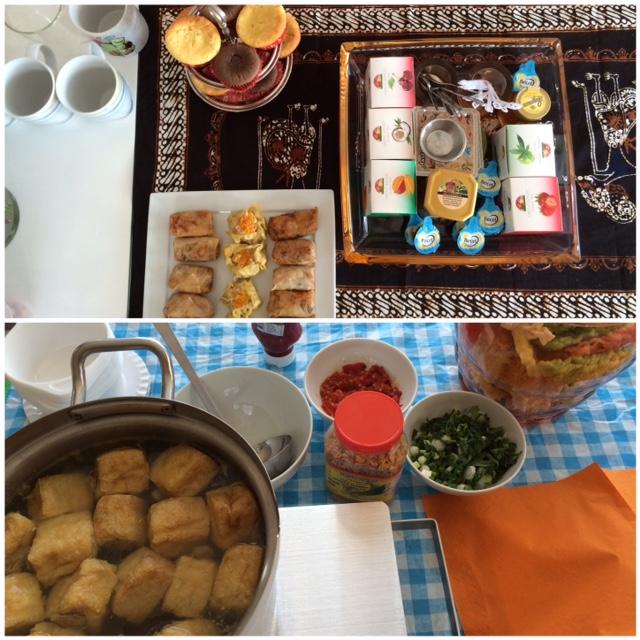 Menu tambahan ketika suami ulang tahun untuk 20 undangan : Baso daging dan baso tahu, lumpia sayur, siomay, cupcake. Menu lainnya pesan.