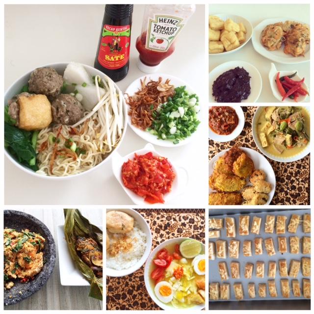 Mie jamur baso, tahu dan ote-ote petis, lodeh tewel perkedel tahu dan dadar jagung, kaasstengels, soto isi sayura dan perkedel kentang, sambel tempe dan pepes jamur.