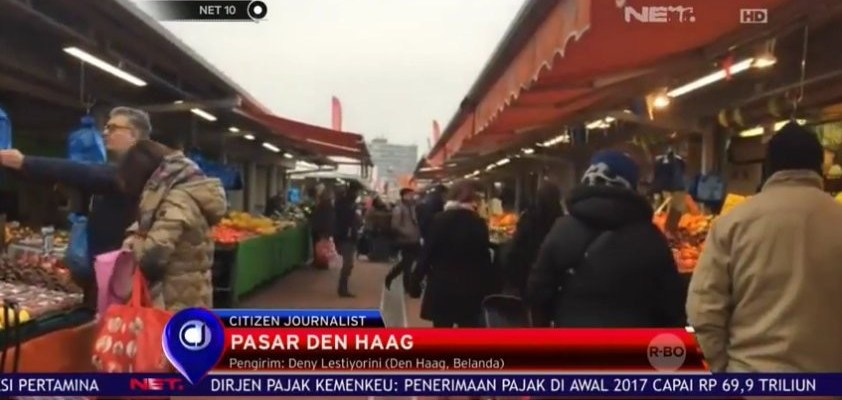 Citizen Journalist NET TV liputan di pasar Den Haag