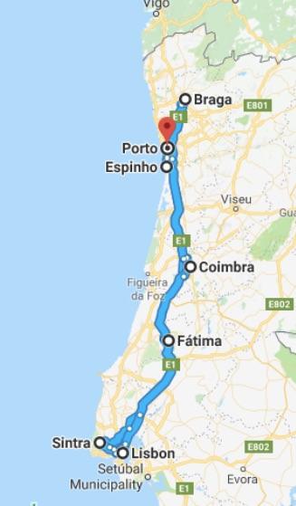Rute road trip kami di Portugal. Akhir Maret - Awal April 2018