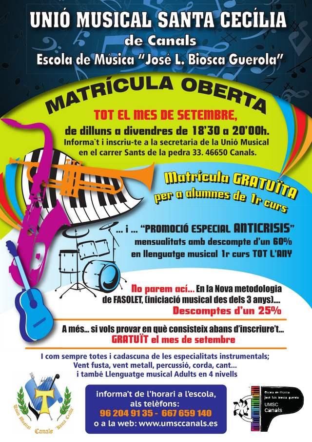 Matricula oberta per a l'escola de musica de la UMSC de Canals