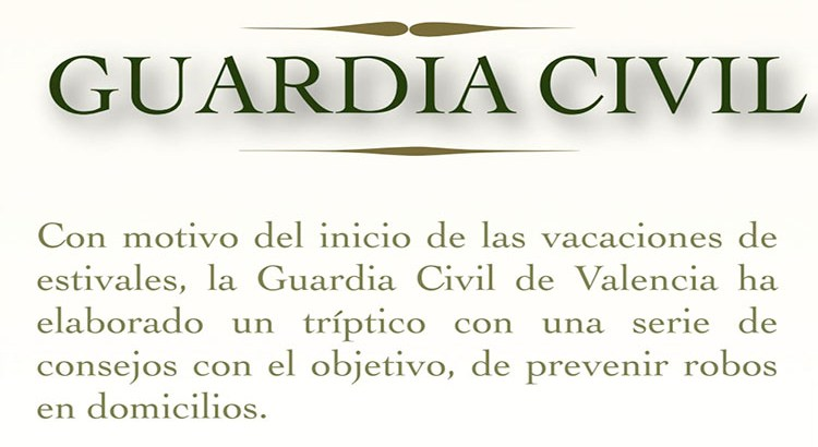 La Guardia Civil elabora un tríptico de seguridad para evitar robos en estas vacaciones estivales