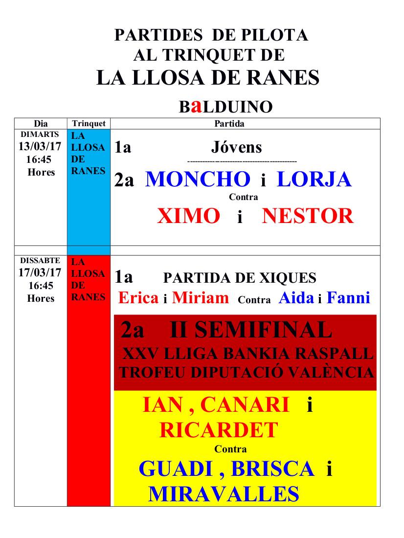 El trinquet de la Llosa de Ranes acollirà aquest dissabte la semifinal de la Lliga de Raspall