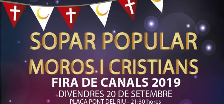 L'associació de moros i cristians de Canals organitzen un sopar popular.