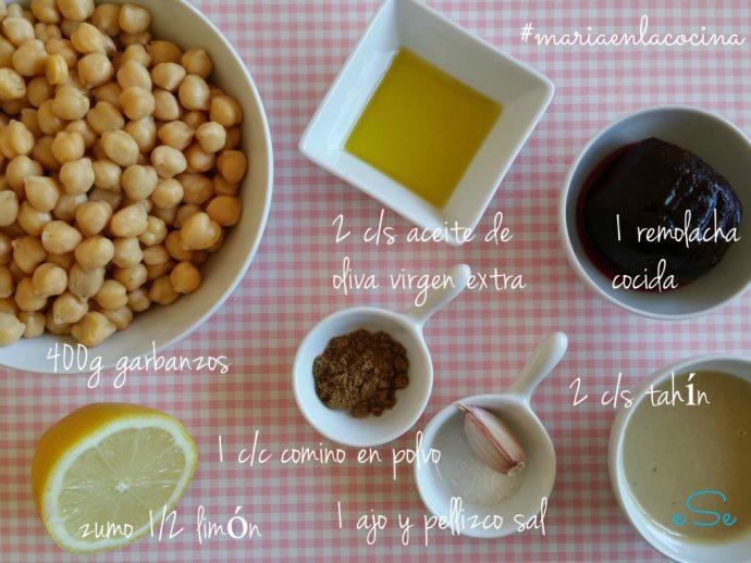 ingredientes hummus de remolacha