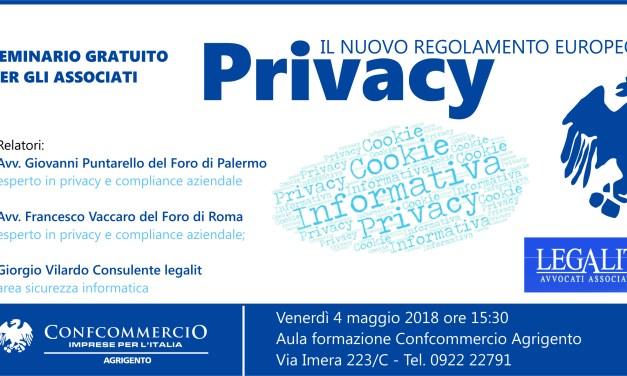Il nuovo Regolamento in materia di PRIVACY: il 4 maggio seminario sul GDPR
