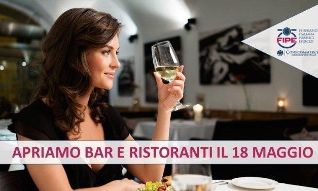 Petizione FIPE: apriamo bar e ristoranti i il 18 maggio