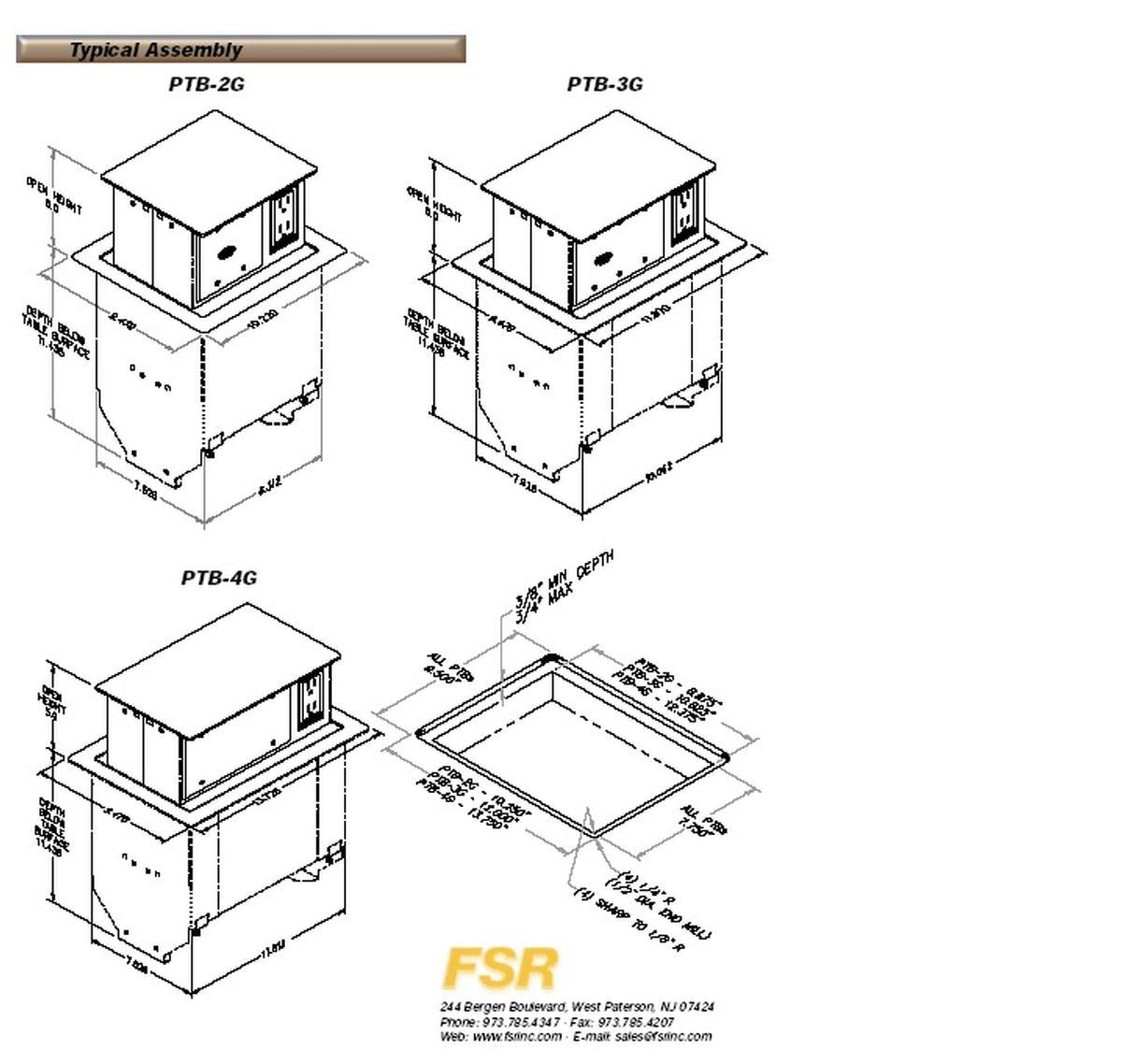 Fsr Ptb 4 Brs Dual Sided Pop Up Table Box 4 Gang 2 Power