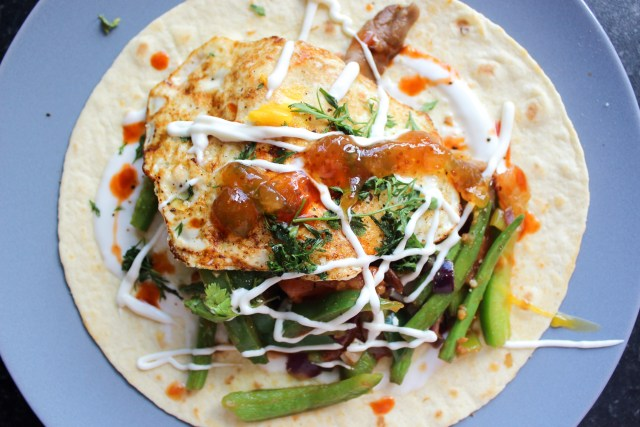 Oyster mushroom vegetable breakfast tortilla