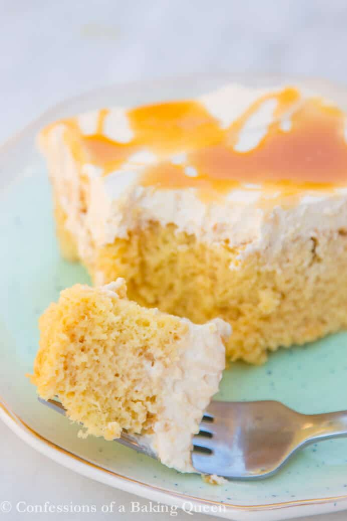 salted caramel tres leches cake bite up close