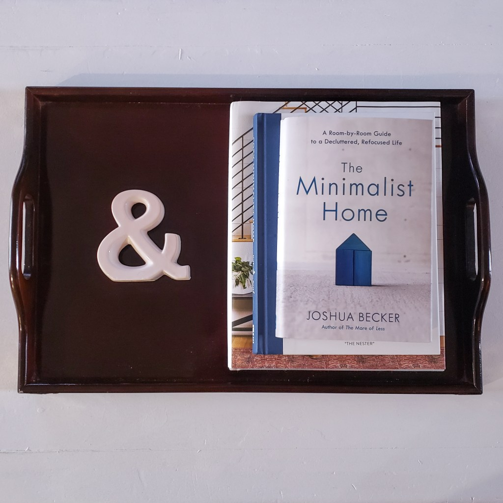 Tray on Coffee table with ampersand and minimalist themed books