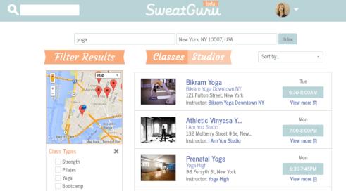 SweatGuru search results