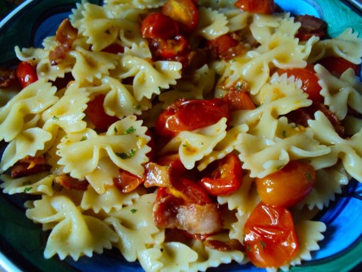 Roasted Grape Tomato & Bacon Pasta