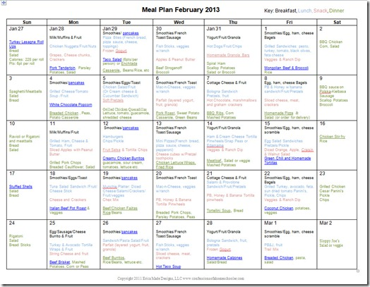 February 2013 Monthly Meal Plan - Confessions of a ...