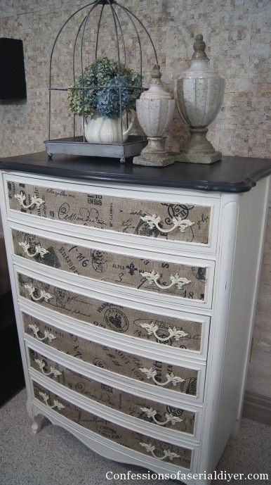 dresser with fabric inlay confessions