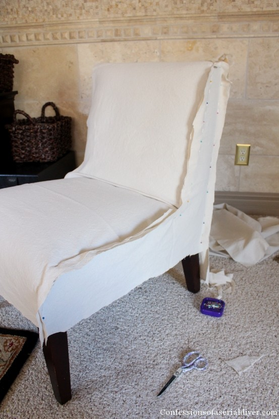 slipcovering an armless accent chair