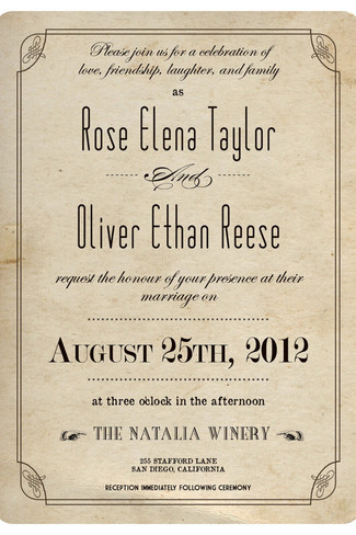 Best Vine Wedding Invitations