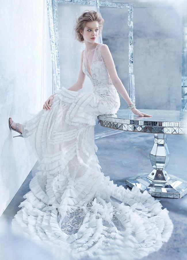 Flirtatiously Feminine Lazaro Wedding Dress Fall 2014 Collection