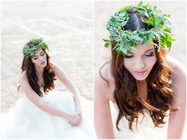 Winter Floral Wreath Green Flower Crown // Rustic Fall Wedding Ideas // Lightburst Photography // Flowers: Dear Love Events //