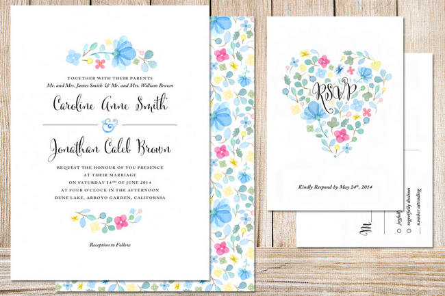 Geous Watercolor Wedding Invitations 5