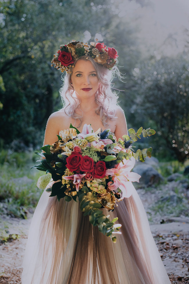 Alternative Bride In Gold Purple Wedding Dress Rocking
