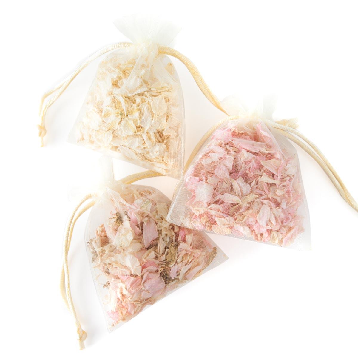 Confetti petal bags - pink delphinium petals