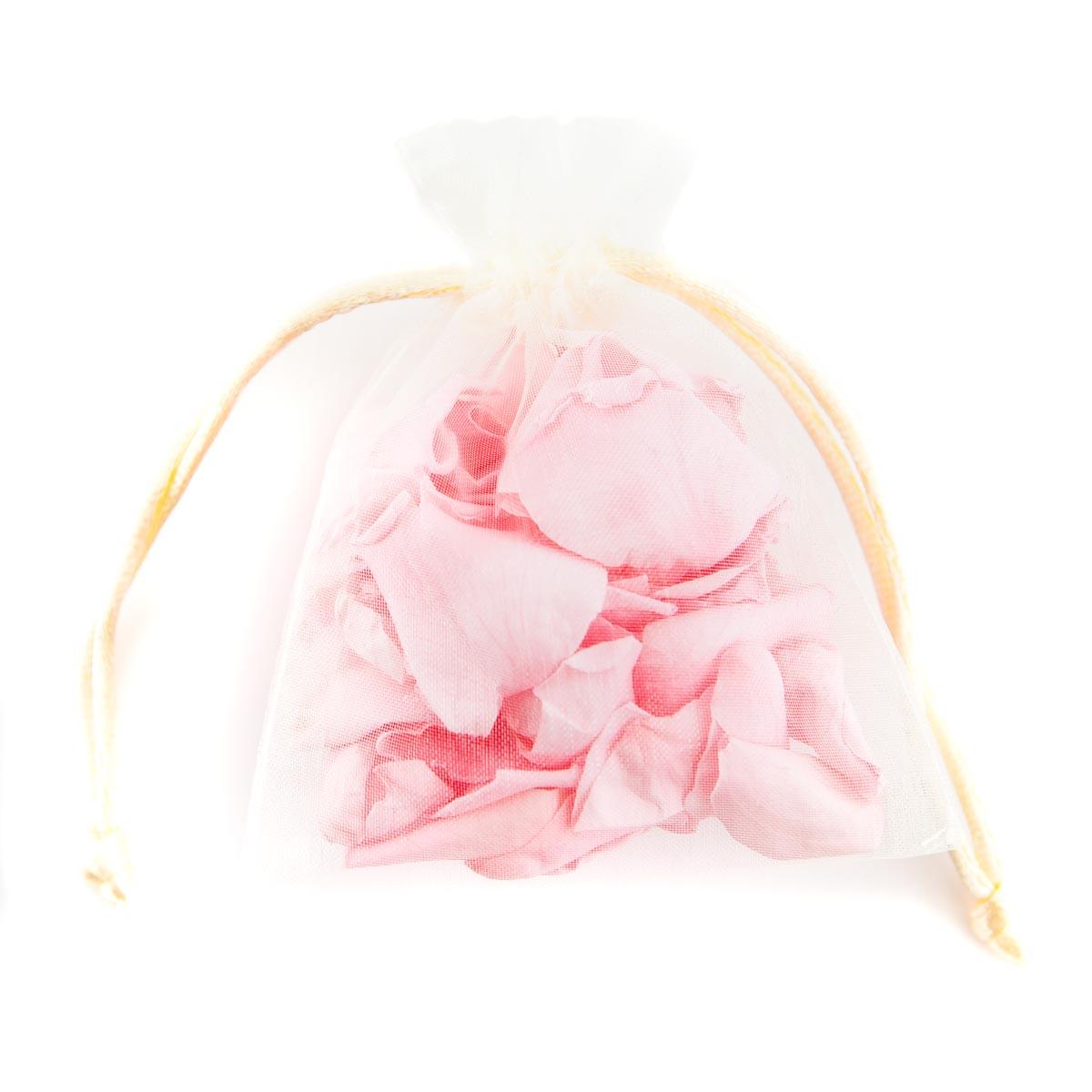 coloured rose petal bag