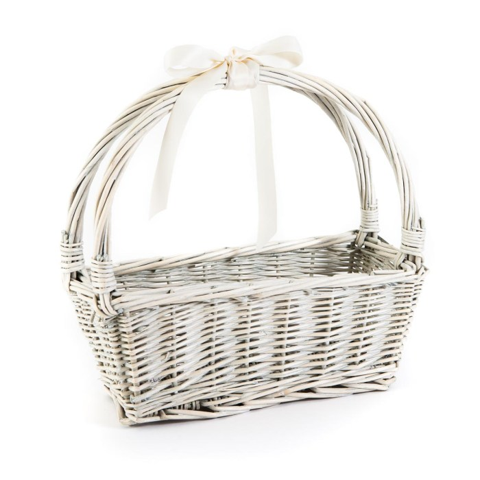 small white basket with cream ribbon