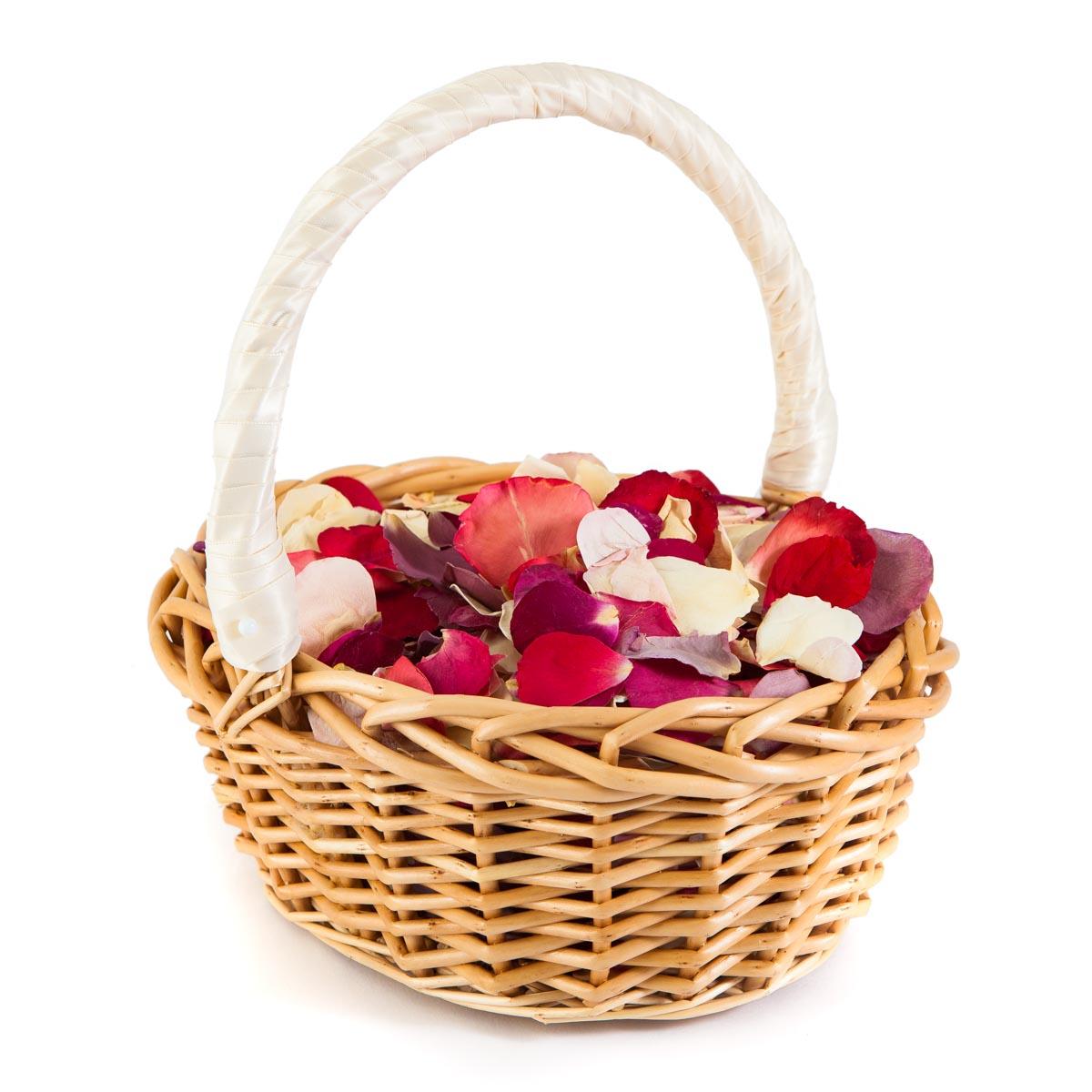 Rainbow Rose Petal Confetti Basket