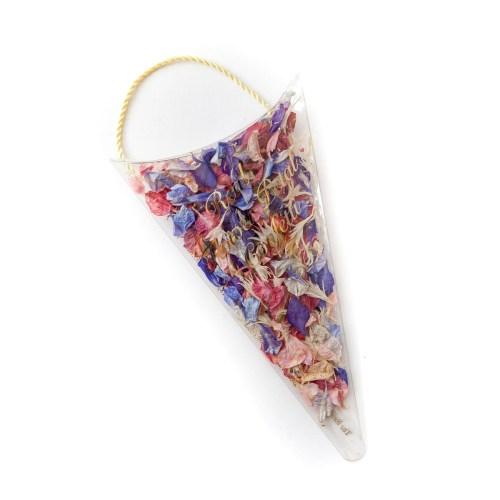 Rainbow delphinium petals confetti sachet