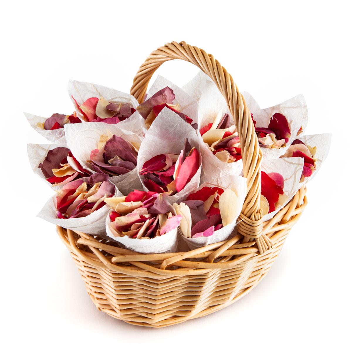 Flower Girl Basket - Rainbow Rose Petals